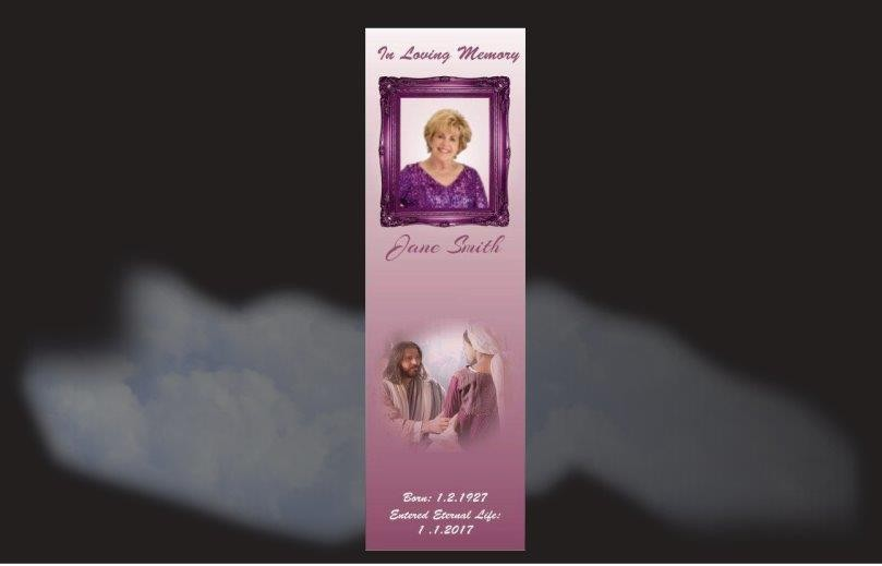 Memorial Bookmarks|Funeral Bookmarks|background shades of lilac image of Jesus welcoming a loved one