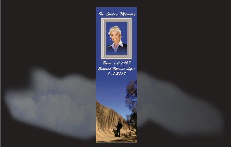 Memorial Bookmarks|Funeral Bookmarks|Perth Wave Rock silhouette of backpacker