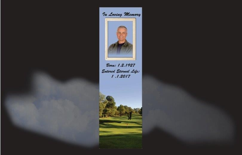 Memorial Bookmarks|Funeral Bookmarks| Golf course background silhouette of golfer