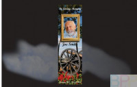 Memorial Bookmarks|Funeral Bookmarks|WW1 cannon set in a bed of red flowers