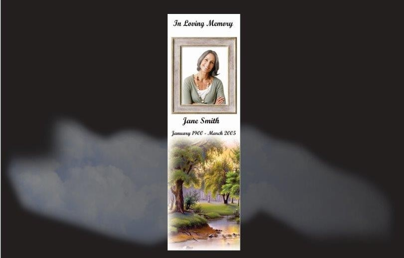 Memorial Bookmarks|Funeral Bookmarks|beautiful scene with running stream