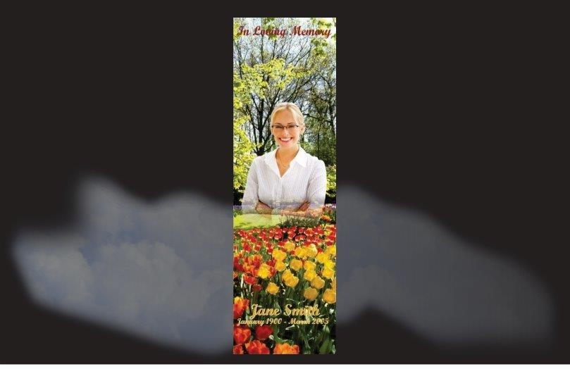 Memorial Bookmarks|Funeral Bookmarks|bed of tulips in a beautful garden