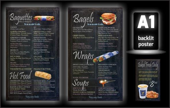Our creative Chalk Menu Boards posters displayed in your existing Illuminated Signs