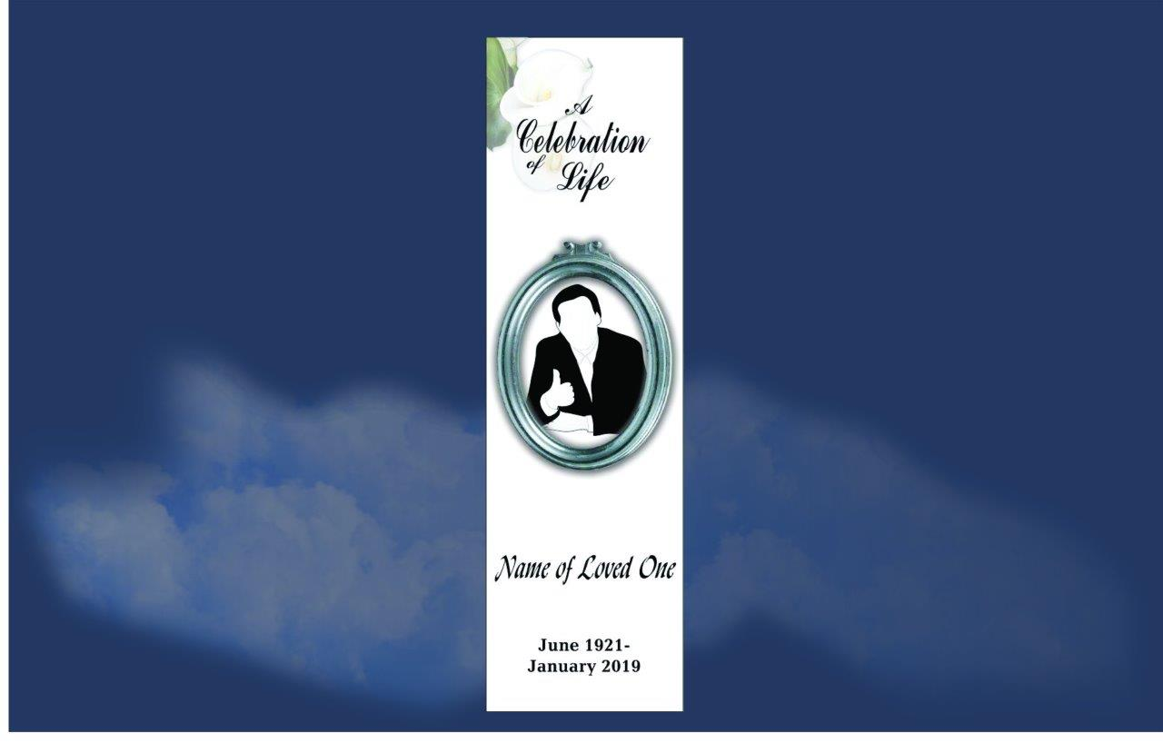 Funeral Book Marks, Memorial Bookmarks attractive middle aged lady in purple and black in a purple background